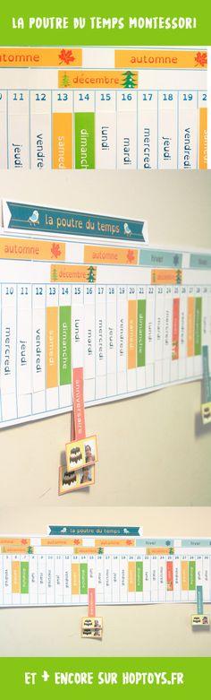 La poutre du temps Montessori à téléchargerLa poutre du tempsMontessoriest un calendrier qui présente tous les jours de l'année et qui permet de prendre conscience du temps qui passe.Sous forme de longue frise, les enfants pourront ainsi noter tous les événements marquants à venir: anniversaires, rentrée des classes, sorties, rendez-vous, Noël, etc. La poutre du temps sera ainsi un outil des plus utiles pour appréhender les notions de passé/présent/futur.