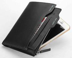 Hautton Black Leather Slimline Wallet