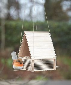 11 Colorful Bird Feeders You Can DIY - diy kids crafts Popsicle Stick Art, Popsicle Stick Crafts For Kids, Craft Stick Crafts, Popsicle Stick Birdhouse, Lolly Stick Craft, Craft Stick Projects, Ice Cream Stick Craft, Craft Sticks, Wood Sticks Crafts