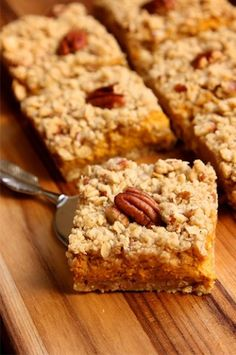 Pumpkin Pie Bars. My Mom would buy pumpkin slices from our local bakery. By the time we got home they would be gone. And she actually told us she ate them all!