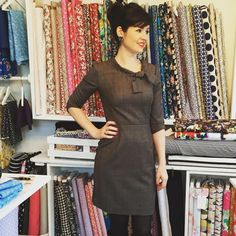 On today. A new Joan Dress in suiting fabric Sewing Ideas, Sewing Projects, Sewing Patterns, Sew Over It, Suit Fabric, Dress Sewing, Work Outfits, Custom Clothes, Dressmaking