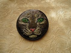 """Brooch-Cat ... decorate your outfit with such an """"attractive face"""" and it would be always something to talk about with others :) Size - 5.5 cm in diameter"""