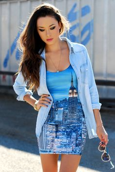 Hapa Time - Empire State of Mind Love Fashion, Fashion Beauty, City Fashion, Fashion Styles, Teen Fashion, Nyc Dresses, Tight Dresses, Hapa Time, Romper With Skirt