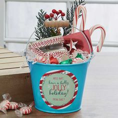 Buy personalized gifts for teachers like our holiday mini metal bucket that can be filled with treats. Christmas Gift Baskets, Teacher Christmas Gifts, Homemade Christmas Gifts, Holiday Gifts, Homemade Teacher Gifts, Christmas Marketing Gifts, Gift For Teacher, Christmas Gifts For Neighbors, Homemade Gift Baskets