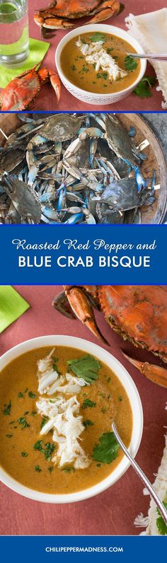 Roasted Red Pepper and Blue Crab Bisque from the Chesapeake Bay - A recipe for velvety bisque made with roasted red peppers and blue crab caught directly from the Chesapeake Bay in Maryland during our anniversary trip. Let's go crabbing!