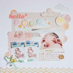 #papercraft #scrapbook #layout.  Baby layout