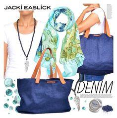 """JACKI EASLICK-Made in Haiti"" by gaby-mil ❤ liked on Polyvore featuring Anja, denim, handbag, scarf and jackieaslick"