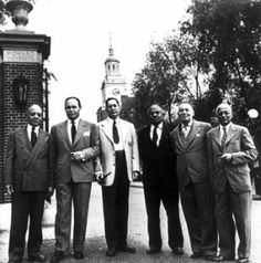 Howard University Faculty, 1950. Left to Right, James Nabrit, Charles Drew, Sterling Brown, E. Franklin Frazier, Rayford Logan and Alain Locke