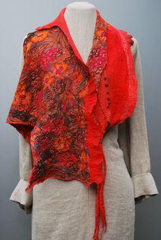Extraordinary hand felted summer silk scarf by sassafrasdesignl, $120.00
