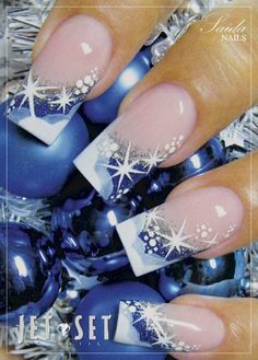 CHRISTMAS NAIL ART DESIGN IDEAS -  Snow on blue and silver