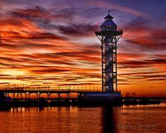 Sunset at Dobbins Landing,   The Bicentennial Tower at Dobbins Landing in Erie, PA....Where I grew up!!!! :)