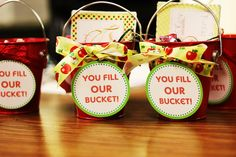 """You Fill OUR Bucket"" pails filled with handwritten thank you notes from the students to the teachers. Our school's theme this year is to be a ""bucket filler"" and our teachers certainly always fill our bucket every day with all they do :)"