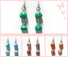 Earrings with two pearls marbled handmade in Cold Porcelain. Available colors are blue, red, purple, green. If you want a custom color please contact me! Gift idea for Easter Egg, Birthdays, Name-days and special occasions.  Gift idea for woman, girl. The metal inserts are nickel free. For any questions or information, please contact me!