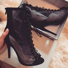 44 new Ideas for lace up ankle boats outfit high heels peep toe Sock Shoes, Cute Shoes, Me Too Shoes, Shoe Boots, Shoes Heels, Kakis, Public Desire Shoes, Gold Strappy Heels, Prom Heels