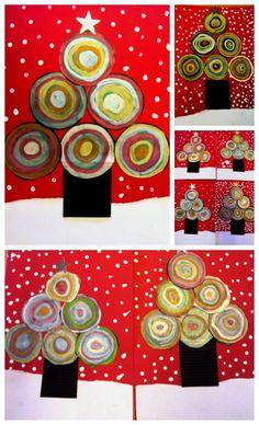 Kandinsky inspired Christmas art project for kids! Christmas Art Projects, Christmas Activities, Christmas Crafts For Kids, Christmas Time, Christmas Cards, Christmas Postcards, Theme Noel, Toddler Christmas, Christmas Illustration