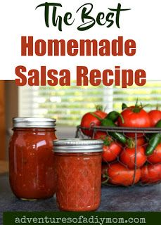 Homemade Salsa Recipe for Canning {Plus an easy trick for peeling tomatoes!} - Adventures of a DIY Mom Ball Canning Salsa Recipe, Tomato Salsa Canning, Salsa With Canned Tomatoes, Canning Cherry Tomatoes, Salsa Canning Recipes, How To Peel Tomatoes, Spicy Recipes, Canning Tips, Salsa For Canning