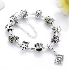 Hope Wish Charm Bracelet Green CZ Birthstone Charm Bracelet Owl Queen Bead Charms Bracelet Lucky Bracelet * Check this awesome product by going to the link at the image. (This is an affiliate link) #JewelryDesign