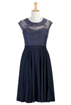 Navy Blue Bridesmaid Dresses , Blue Lace Dress Shop women's designer fashion - Empire Waist Dresses - Empire Dresses   Women's Clothing at eShakti.com -   eShakti.com...this could be perfect!!!!