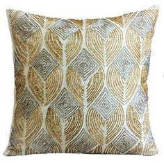 Ivory Decorative Pillow Cover 16x16 Silk Pillows