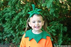 This year my daughter was very matter-of-fact that she wanted to be a pumpkin for Halloween - months in advance - and never wavered f. Baby In Pumpkin, Cute Pumpkin, Diy Pumpkin, Pumpkin Halloween Costume, Halloween Pumpkins, Halloween Costumes, Kids Patterns, Sewing Patterns, Baby Sewing