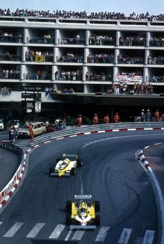 Alain Prost leads team mate Rene Arnoux at Monaco 1981.  Prost drives the New RE30 while Arnoux is in the older RE20B