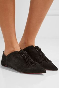 Christian Louboutin - Medinana Fringed Collapsible-heel Suede Slippers -  Black Urban Fashion Trends 6a5b49786090