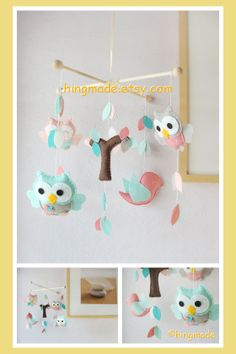 Check out our owls mobile selection for the very best in unique or custom, handmade pieces from our mobiles shops. Bird Mobile, Hanging Mobile, Mobile Baby, Baby Cot Mobiles, Woodland Mobile, Ceiling Hanging, Baby Owls, Kids Bedroom, Bedroom Ideas
