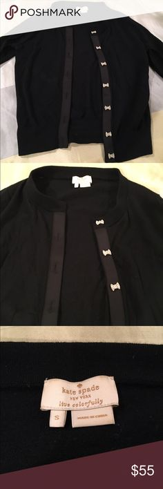 kate spade bow cardigan Black cotton kate spade cardigan. Ribbon trim. Bow buttons with crystal embellishments. Size small. kate spade Sweaters Cardigans