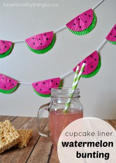 Cupcake Liner Watermelon DIY Party Bunting. Perfect for a summer party and simple enough for the kids to help you make it.