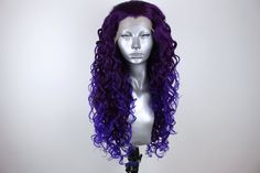 Isla- Violet Tipped Deep Purple – Webster Wigs Spiral Curls, Widow's Peak, Aesthetic Hair, Wig Cap, Hairline, Deep Purple, Fancy Dress, Hair And Nails