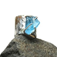 Wide Rustic Silver Rough Blue Topaz Ring  by NangijalaJewelry, $255.00