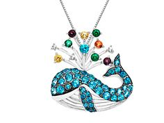 Rainbow Topaz Whale Pendant in Sterling Silver