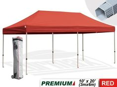 Eurmax Premium Ez Pop up Canopy with Wheeled Bag (20x10feet,red) by eurmax. $499.95. This 10' x 20' instant shelter canopy with adjustable legs sets up in seconds. It is ideal for commercial or recreational use (small business, craft shows, tailgate parties, picnics, camping, outdoor sporting events). The commercial grade DuraLast top provides 99% UV protection and is water resistant. The commercial grade Aluma-Steel powder coated frame makes this canopy lighter ...