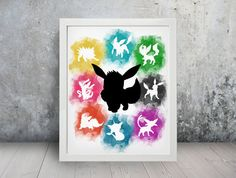 All Eeveelutions Inspired Watercolor Print, Poster, Wall Art, Decor, Anime, Pokemon, Eevee, Evolution, Espeon, Umbreon, Flareon, Glaceon