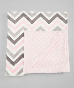 Take a look at this Pink & Silver Zigzag Minky 30'' x 30'' Blanket by Lolly Gags on #zulily today!