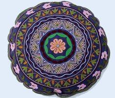 Round Suzani Pillow in Dark Blue by gypsya on Etsy Home Garden Design, Gifts For My Sister, Inspirational Artwork, Embroidery Techniques, Cool Fabric, Ribbon Embroidery, Garden Styles, Home Deco, Home Accessories