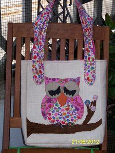 borsa gufo rosa realizzata con tessuti di tappezzeria