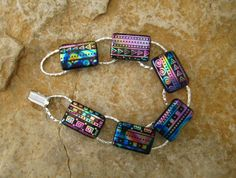 Fused Glass Bracelet Southwest Fused Glass Link by GlassCat, $36.00