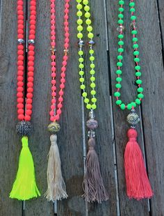 SALE Neon Yellow tassel necklace bohemian necklace by AllGirlsneed, $19.00