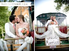 Photography by Samantha McGranahan, The Roxy Studio. Wedding photography, Madison Trolley, Just Married, Just Married sign, summer wedding, wedding limo, wedding decor, get away car, bride and groom, must have wedding shots