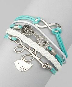 white and mint bracelets
