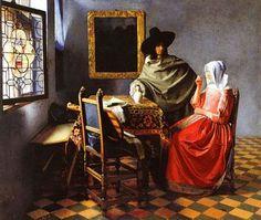 Jan Vermeer- Il bicchiere di vino. 1658-61 circa. Tela, cm 66,3x76,5 Gemäldegalerie Berlino