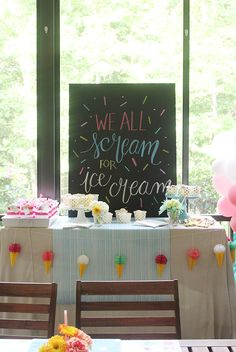Ice Cream Party Inspiration and Free Chalkboard Printable! Diy Ice Cream, Ice Cream Party, Chalkboard Printable, Chalkboard Art, Balloon Arch, Balloons, Summer Table Decorations, Kids Playing, Bliss