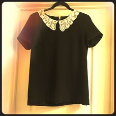 Forever 21 Lace Collared Top Black and Ivory small lace collared top. Gold zipper. Only tried on. No defects or imperfections. Very classic chic! Forever 21 Tops Blouses