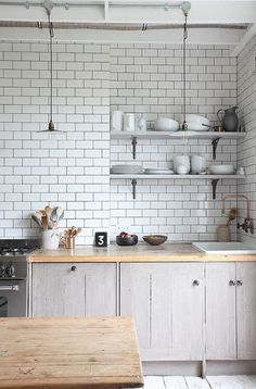 timeless subway tile & wood countertops