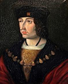 Charles VIII (1470-1498), Roi de France, fils de Louis XI et de Charlotte de Savoie. Il épouse Anne de Bretagne en 1491 et meurt en 1498 après avoir violemment heurté du front un linteau de pierre du château d'Amboise ! Il est ici représenté portant le collier de l'ordre de St-Michel - Château de Loches (France)