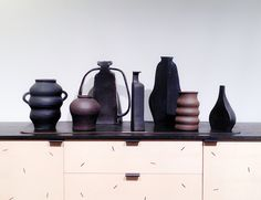 Ceramics by Keiko Narahashi and sideboard by Moving Mountains, from sightunseen.com