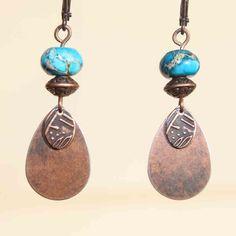 Boho Earrings Blue Jasper Earrings Earthy Earrings Copper Earrings Drop Dangle Earrings Jewelry by NtikArtJewelry on Etsy https://www.etsy.com/listing/206207810/boho-earrings-blue-jasper-earrings