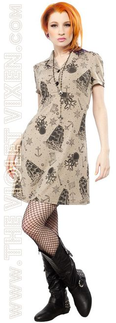 Super sassy and quirky new dress here! Who doesn't love the mystery and legend of the Kraken? I need this one! The Violet Vixen - Kraken's Revenge Rosie Dress, $52.00 (http://thevioletvixen.com/clothing/dresses/krakens-revenge-rosie-dress/)