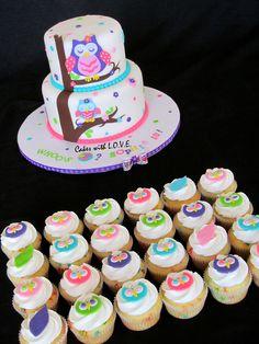 Allison's Birthday Cake Idea Owl+Blossom+Cake+and+cupcakes